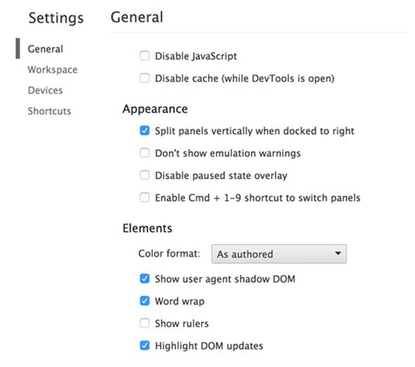 Shadow DOM Chrome Setting