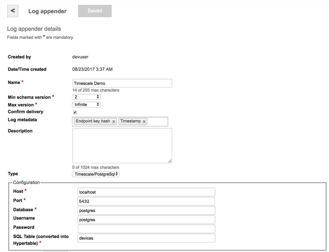 PostgreSQL/Timescale Log Appender